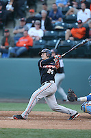 K.J. Harrison (24) of the Oregon State Beavers bats during a game against the UCLA Bruins at Jackie Robinson Stadium on April 4, 2015 in Los Angeles, California. UCLA defeated Oregon State, 10-5. (Larry Goren/Four Seam Images)