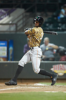 Leody Taveras (3) of the Down East Wood Ducks follows through on his swing against the Winston-Salem Dash at BB&T Ballpark on May 12, 2018 in Winston-Salem, North Carolina. The Wood Ducks defeated the Dash 7-5. (Brian Westerholt/Four Seam Images)