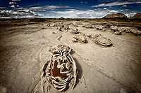 Unusual eroded rock formations in the Bisti Wilderness in northwestern New Mexico.