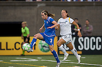 Boston Breakers forward Kelly Schmedes (3) traps ball as Los Angeles Sol forward/defender Brittany Bock (11) closes. The Boston Breakers defeated Los Angeles Sol, 2-1, at Harvard Stadium on May 2, 2009.