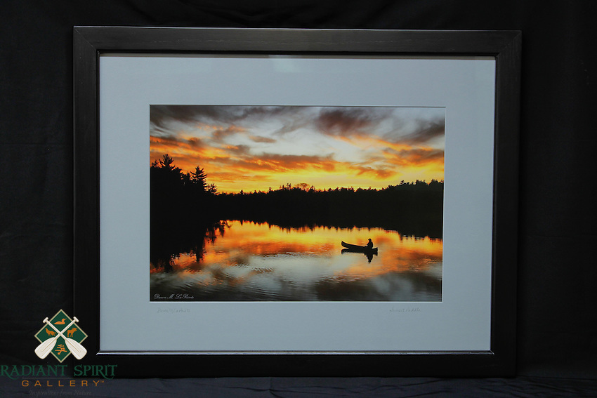 """""""Sunset Paddle"""", hand-made oak frame with black finish, conservation grade matting, TruVue Museum Glass. Contact us for availability."""