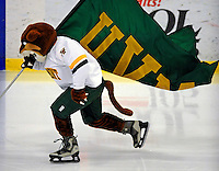 19 January 2008: University of Vermont Catamounts' mascot Rally Cat entertains the crowd during a game against the Northeastern University Huskies at Gutterson Fieldhouse in Burlington, Vermont. The Catamounts defeated the Huskies 5-2 to close out their 2-game weekend series...Mandatory Photo Credit: Ed Wolfstein Photo