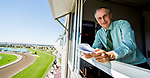 September 18, 2021: Track announcer Robert Geller prepares to call a race on Woodbine Mile Day at Woodbine Racetrack in Toronto, Ontario Canada on September 18th, 2021. Scott Serio/Eclipse Sportswire/CSM