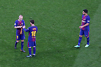 FC Barcelona's Andres Iniesta, Leo Messi and Luis Suarez during Spanish King's Cup Final match. April 21,2018. (ALTERPHOTOS/Acero)