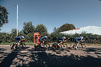 7th September 2021: Llandeilo, Wales:The AJ Bell Tour Of Britain 2021. Stage 3 Llandeilo to National Botanic Garden of Wales. Team Time Trial. Deceuninck - Quick Step. CAVENDISH Mark, ALAPHILIPPE Julian, BALLERINI Davide, DECLERCQ Tim, HONORE, LAMPAERT Yves.