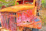 Flourescent vintage truck at Giant Mine