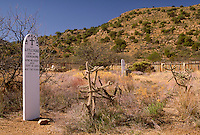 Post Cemetery near ruins of Fort Bowie built at Apache Pass in 1862 to protect stage coaches and travelers on the Butterfield Overland Trail and pioneers from Apache raids and skirmishes. Fort Bowie National Historic Site near Bowie, AZ. Bowie Arizona USA