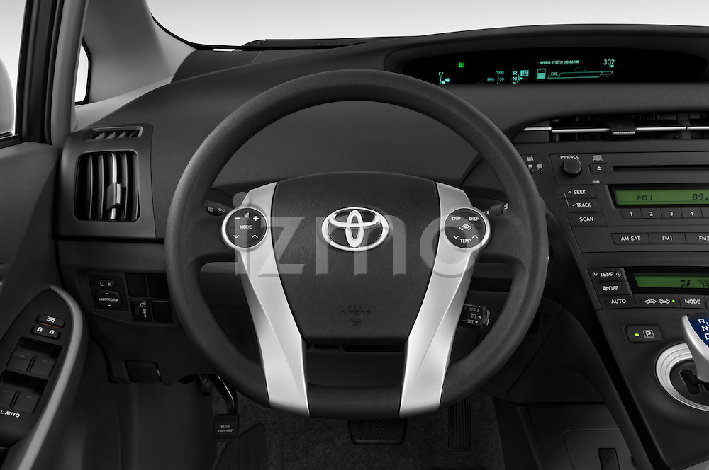 Steering wheel view of a 2010 Toyota Prius 2