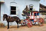 A traditional Victorian miniature horse drawn  stagecoach, they are used as taxi's. Maymyo Pyin U Lwin. Myanmar Burma.)