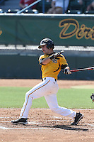 Alex Bishop #7 of the Long Beach State Dirtbags bats against the Indiana Hoosiers at Blair Field on March 15, 2014 in Long Beach, California. Indiana defeated Long Beach State 2-1. (Larry Goren/Four Seam Images)