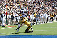 Bryant Nnabuife (15) defends Ricky Marvray (10) on the play to prevent the reception. The California Golden Bears defeated the UCLA Bruins 35-7 at Memorial Stadium in Berkeley, California on October 9th, 2010.