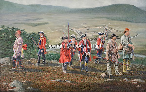 """During the French and Indian War, the British Army built a string of garrisoned forts into the frontier from the edge of civilization in the East into the wilderness of western Pennsylvania. They were connected by the first road built through that wilderness which become known as Forbes Road, the name of the overall British commander, General John Forbes. It is now present day US 30.<br /> <br /> These forts were to allow a large British Army to easily move westward to dislodge the French at the confluence of the three rivers: Fort Dusquesne, present day Pittsburgh.<br /> <br /> Protection from possible attack by the French and their Indian allies was important during the building of Fort Bedford in the early stages of the operation. In this painting, Colonel Bouquet (pointing) and his scouting party are assessing the nearby terrain for the best sentry positions. He is accompanied by an Indian allied with the British, Chief Kissity, (wearing yellow armband to show his British allegiance), other redcoat officers and men, and local Indian traders John Fraser and James Dunning (far right). Oil on canvas, 22""""x 34""""."""