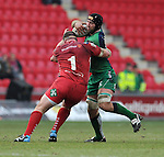Connacht's John Muldoon is tackled by Scarlets' Phil John<br /> <br /> Rugby - Scarlets V Connacht - Guinness Pro12 - Sunday 15th Febuary 2015 - Parc-y-Scarlets - Llanelli<br /> <br /> © www.sportingwales.com- PLEASE CREDIT IAN COOK