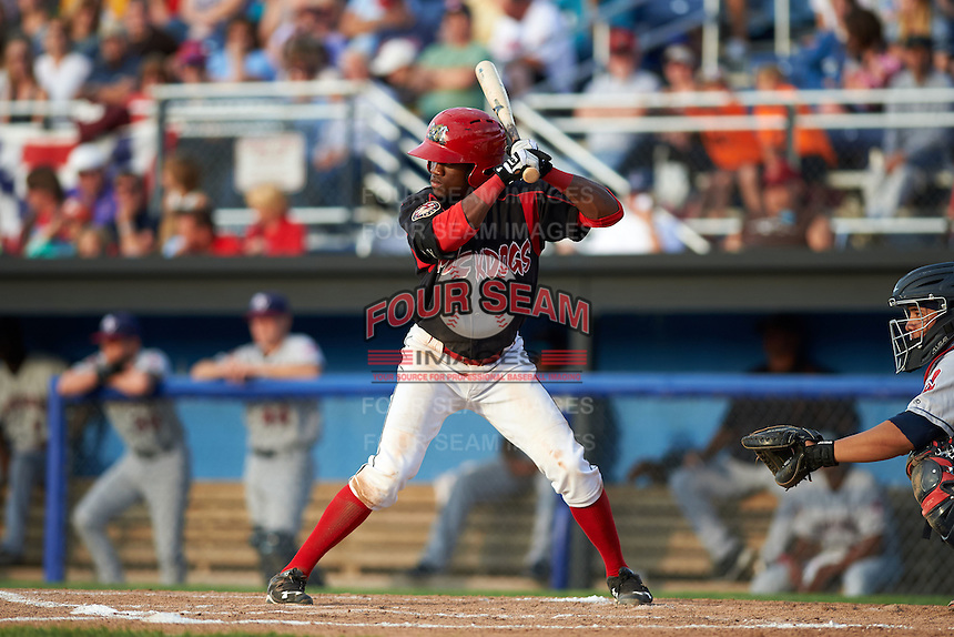 Batavia Muckdogs shortstop Anfernee Seymour (3) at bat during a game against the Mahoning Valley Scrappers on July 3, 2015 at Dwyer Stadium in Batavia, New York.  Batavia defeated Mahoning Valley 7-4.  (Mike Janes/Four Seam Images)