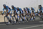 Omega Pharma-Quick Step team in action during the 2nd Stage of the 2012 Tour of Qatar an 11.3km team time trial at Lusail Circuit, Doha, Qatar. 6th February 2012.<br /> (Photo Eoin Clarke/Newsfile)