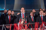 Wales's national rugby team who won both the Six Nations and the Grand Slam are welcomed to the National Assembly for Wales Senedd building in Cardiff Bay today for a public celebration event. Wales Captain Alun Wyn Jones sings the national anthem.