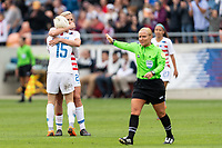 Houston, TX - Sunday April 08, 2018: Megan Rapinoe, Allie Long during an International Friendly soccer match between the USWNT and Mexico at BBVA Compass Stadium.