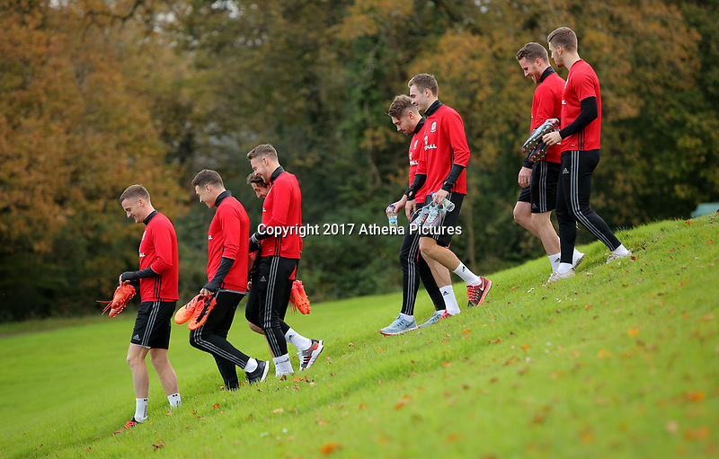 Players walk to the pitch during the Wales Training Session at The Vale Resort, Wales, UK. 06 November 2017