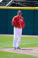 Buffalo Bisons pitching coach Bob Stanley #46 during warmups before the first game of a doubleheader against the Pawtucket Red Sox on April 25, 2013 at Coca-Cola Field in Buffalo, New York.  Pawtucket defeated Buffalo 8-3.  (Mike Janes/Four Seam Images)