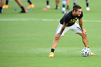 WASHINGTON, DC - AUGUST 25: Diego Fagundez #14 of New England Revolution warming up during a game between New England Revolution and D.C. United at Audi Field on August 25, 2020 in Washington, DC.