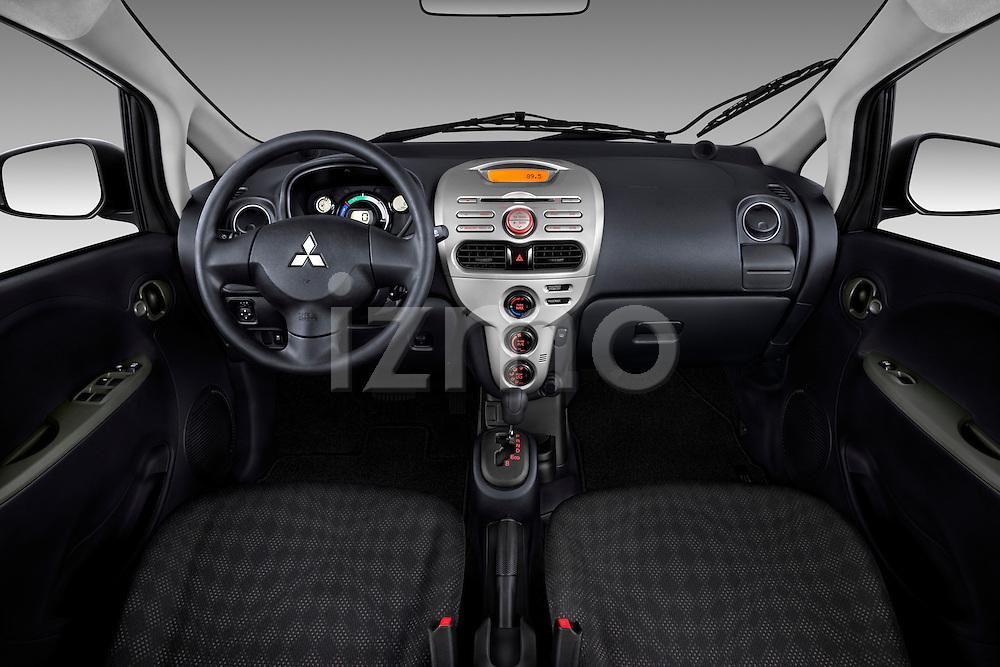 Straight dashboard view of a 2012 Mitsubishi MiEV ES.
