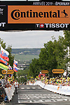 The finish of Stage 3 atop Cote de Mutigny of the 2019 Tour de France running 215km from Binche, Belgium to Epernay, France. 8th July 2019.<br /> Picture: Colin Flockton | Cyclefile<br /> All photos usage must carry mandatory copyright credit (© Cyclefile | Colin Flockton)
