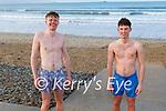 David McCarthy and Dominick Craig enjoying a swim in Banna beach on Friday.