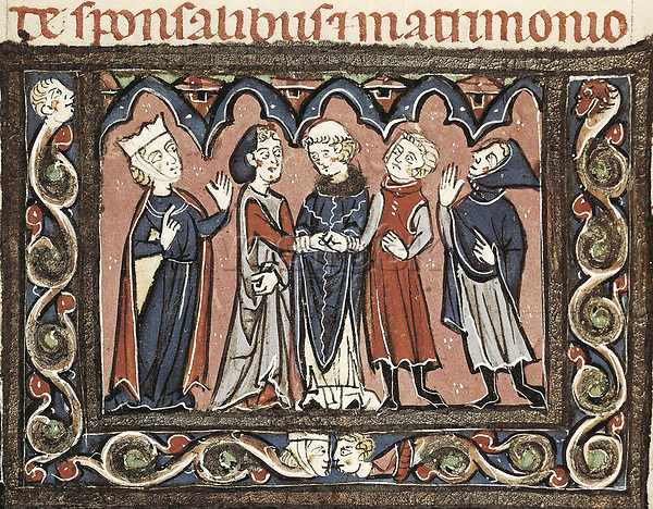 Medieval epistles by Juan Andrés. Wedding scene. Gothic art. Miniature Painting. FRANCE. Laon. Bibliothèque municipale de Laon