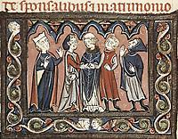 Medieval epistles by Juan Andrés. Wedding scene. Gothic art. Miniature Painting. FRANCE. Laon. Bibliothèque municipale de Laon