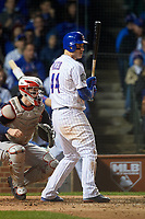Chicago Cubs Anthony Rizzo (44) bats in the eighth inning during Game 4 of the Major League Baseball World Series against the Cleveland Indians on October 29, 2016 at Wrigley Field in Chicago, Illinois.  (Mike Janes/Four Seam Images)