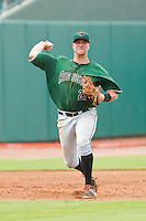 Augusta GreenJackets third baseman Mitch Delfino (21) makes a throw to first base against the Greensboro Grasshoppers at NewBridge Bank Park on August 11, 2013 in Greensboro, North Carolina.  The GreenJackets defeated the Grasshoppers 6-5 in game one of a double-header.  (Brian Westerholt/Four Seam Images)