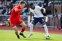 3rd September 2021; Newport, Wales:  Zak Sturage England takes on Harry Jewitt White during the U18 International Friendly match between Wales and England at Newport Stadium in Newport, Wales.