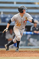 West Virginia Power second baseman Erich Weiss #22 runs to first during game one of a double header against the Asheville Tourists at McCormick Field on April 8, 2014 in Asheville, North Carolina. The Power defeated the Tourists 6-5. (Tony Farlow/Four Seam Images)