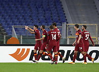 Football Soccer: UEFA Europa League UEFA Europa League Group A  AS Roma vs FCR Cluj, Olympic stadium, Rome, 5 November, 2020.<br /> Roma's Roger Ibanez (l) celebrates after scoring with his teammates during the Europa League football match between Roma and Cluj at the Olympic stadium in Rome on  5 November, 2020.<br /> UPDATE IMAGES PRESS/Isabella Bonotto