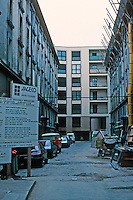 Ricardo Bofill--related: Paris, Zone d'Action Concerte. Looking into Gardien 42, Rue de L'Ouest. Rehabbing old structures, integrating old and new. Summer 1990. See PROG. ARCH, JULY '87.