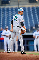 Daytona Tortugas starting pitcher Scott Moss (15) looks in for the sign during a game against the Tampa Tarpons on April 18, 2018 at George M. Steinbrenner Field in Tampa, Florida.  Tampa defeated Daytona 12-0.  (Mike Janes/Four Seam Images)
