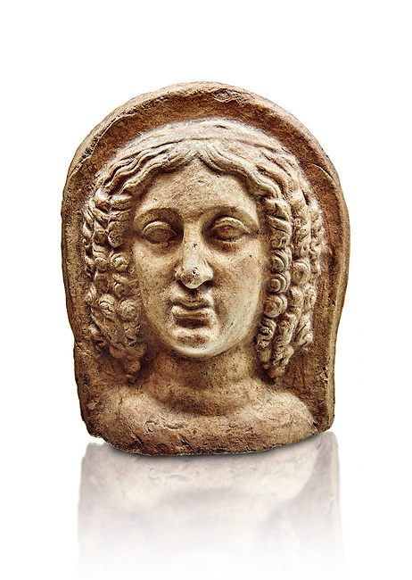 3rd - 2nd century B.C Etruscan architectural voitive plaques of women, inv 4770, National Archaeological Museum Florence, Italy , white background