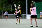 GER - Hannover, Germany, May 31: During the Women Lacrosse Playoffs 2015 match between KIT SC Karlsruhe (pink) and HTHC Hamburg (black) on May 31, 2015 at Deutscher Hockey-Club Hannover e.V. in Hannover, Germany. Final score 3:18. (Photo by Dirk Markgraf / www.265-images.com) *** Local caption *** Josi Probst #5 of HTHC Hamburg
