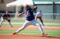 GCL Cardinals starting pitcher Wilfredo Pereira (39) delivers a pitch during a game against the GCL Marlins on August 4, 2018 at Roger Dean Chevrolet Stadium in Jupiter, Florida.  GCL Marlins defeated GCL Cardinals 6-3.  (Mike Janes/Four Seam Images)