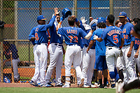 GCL Mets Nic Gaddis (73) high fives teammates, including Brailin Gonzalez (48) and William Lugo (88), after hitting a home run during a Gulf Coast League game against the GCL Marlins on August 11, 2019 at St. Lucie Sports Complex in St. Lucie, Florida.  GCL Marlins defeated the GCL Mets 3-2 in the second game of a doubleheader.  (Mike Janes/Four Seam Images)