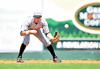 15 July 2010: Aberdeen IronBirds' infielder Michael Rooney in action against the Vermont Lake Monsters at Centennial Field in Burlington, Vermont. The Lake Monsters rallied in the bottom of the 9th inning to defeat the IronBirds 7-6 notching their league leading 20th win of the 2010 NY Penn League season. Mandatory Credit: Ed Wolfstein Photo