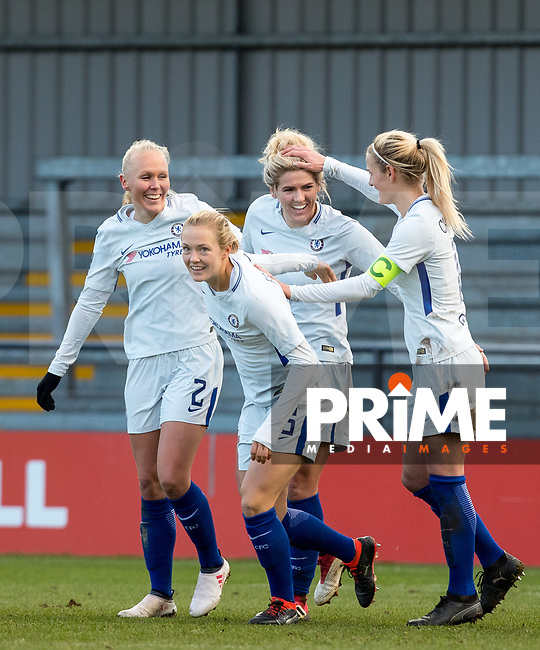 Celebrations after Millie Bright of Chelsea Ladies scores her goal during the Women's FA Cup match between London Bees and Chelsea Ladies at The Hive, London, England on 4 February 2018. Photo by Andy Rowland.