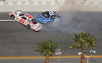 Feb 7, 2009; Daytona Beach, FL, USA; ARCA RE/MAX Series driver Michael Annett (01) crashes with Alli Owens (19) during the Lucas Oil Slick Mist 200 at Daytona International Speedway. Mandatory Credit: Mark J. Rebilas-