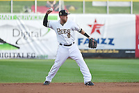 Taylor Lindsey (8) of the Salt Lake Bees on defense against the Reno Aces at Smith's Ballpark on May 4, 2014 in Salt Lake City, Utah.  (Stephen Smith/Four Seam Images)