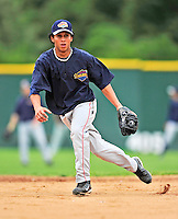 21 August 2010: Brooklyn Cyclones infielder Wilfredo Tovar fields grounders prior to game action against the Vermont Lake Monsters at Centennial Field in Burlington, Vermont. The Cyclones defeated the Lake Monsters 8-7 in a 12-inning game that had to be resumed in Brooklyn on August 31 due to late inning rain. Mandatory Credit: Ed Wolfstein Photo