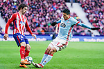 Sime Vrsaljko of Atletico de Madrid (L) fights for the ball with Facundo Roncaglia of RC Celta de Vigo (R) during the La Liga 2017-18 match between Atletico de Madrid and RC Celta de Vigo at Wanda Metropolitano on March 11 2018 in Madrid, Spain. Photo by Diego Souto / Power Sport Images