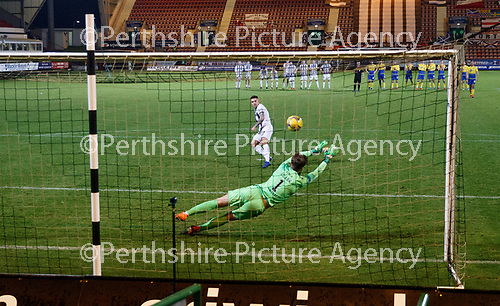 Dunfermline v St Johnstone…15.12.20   East End Park      BetFred Cup<br />Zander Clark saves Kevin O'Hara's penalty<br />Picture by Graeme Hart.<br />Copyright Perthshire Picture Agency<br />Tel: 01738 623350  Mobile: 07990 594431