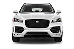 Car photography straight front view of a 2018 Jaguar F-PACE 20d-R-Sport-AWD 5 Door SUV Front View