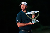 23rd August 2020, Boston, MA, USA;  Dustin Johnson, of the United States, poses with the trophy after winning The Northern Trust  at TPC Boston in Norton, Massachusetts.