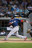 Rusney Castillo (26) of the Pawtucket Red Sox follows through on his swing against the Charlotte Knights at BB&T BallPark on July 6, 2016 in Charlotte, North Carolina.  The Knights defeated the Red Sox 8-6.  (Brian Westerholt/Four Seam Images)